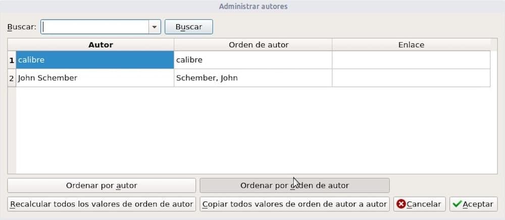 Administrar autores en Calibre