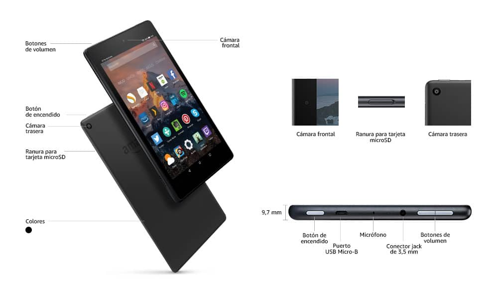 Dimensiones Kindle Fire HD 8